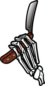 Símbolo - mão de caveira segurando lâmina Barbearia Industrial